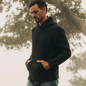 fit model wearing The Nomad Hoodie in Navy Twill, hands in pocket