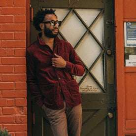 fit model wearing The Ojai Jacket in Burgundy Cord, looking right