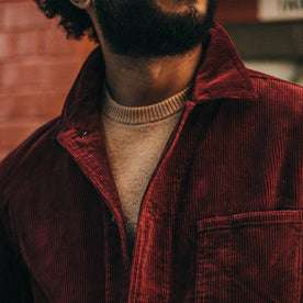 fit model wearing The Ojai Jacket in Burgundy Cord, chest shot