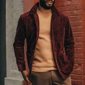 fit model wearing The Ojai Jacket in Burgundy Cord, hands in pockets