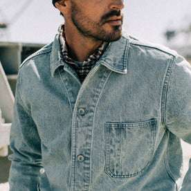 fit model wearing The Ojai Jacket in Washed Denim, cropped shot of chest