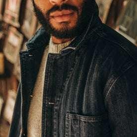 fit model wearing The Ojai Jacket in Washed Indigo Herringbone, material detail shot