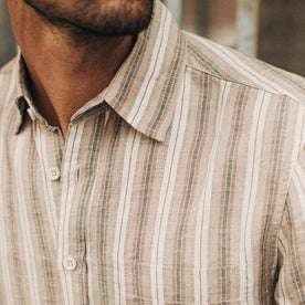 fit model wearing The Short Sleeve California in Desert Shadow Stripe, cropped detail shot of chest