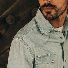 fit model wearing The Western Shirt in Washed Denim, shoulder detail