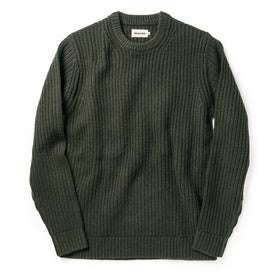 flatlay of The Wharf Sweater in Dark Olive