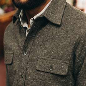 fit model wearing The Yosemite Shirt in Charcoal Donegal, chest detail