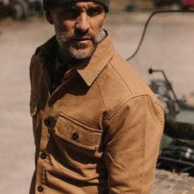 fit model wearing The Lined Shop Shirt, shoulder