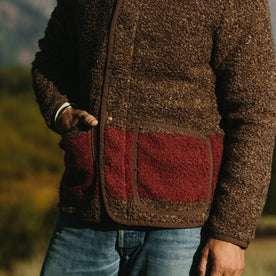 fit model wearing The Port Jacket in Espresso Marl, hand in pocket