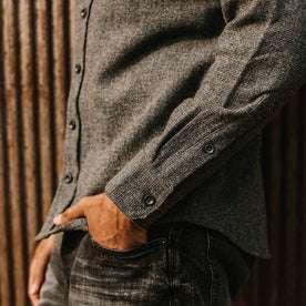 fit model wearing The Service Shirt in Ash Melange Wool, hand in pocket