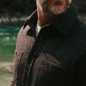 fit model wearing The Service Shirt in Moss Melange Wool, chest detail
