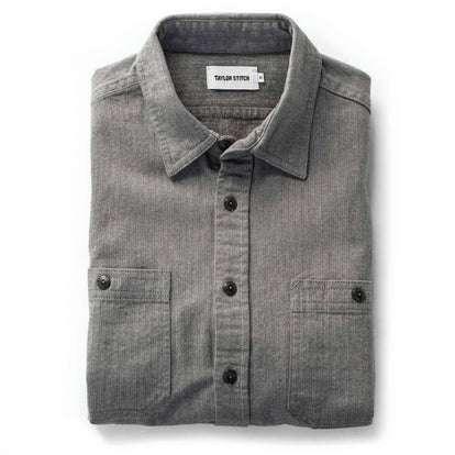 The Utility Shirt in Slate Broken Herringbone