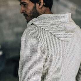 our fit model wearing The Après Hoodie in Natural Hemp Stripe