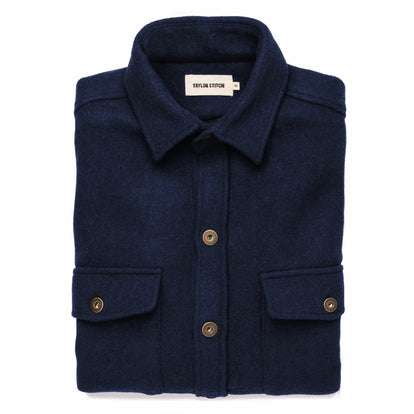 The Explorer Shirt in Navy Boiled Wool