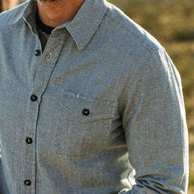 our fit model wearing The Cash Shirt in Washed Hemp Chambray