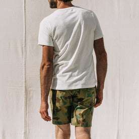 our fit model wearing The Adventure Short in Arid Camo