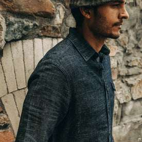 our fit model wearing The Cash Shirt in Indigo Hemp—cropped shot of shoulder