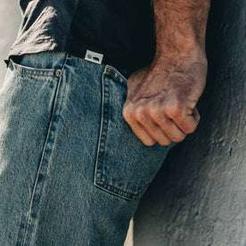 our fit model wearing The Democratic Jean in 24-Month Wash Japanese Selvage—back detail shot