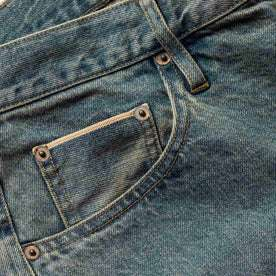 material shot of The Democratic Jean in 24-Month Wash Japanese Selvage—pocket cropped shot