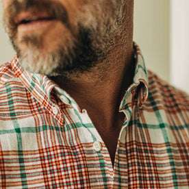 our fit model wearing The Jack in Vintage Red Madras—cropped shot of collar