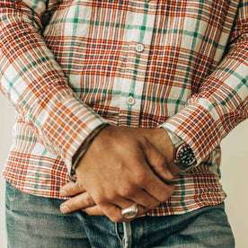 our fit model wearing The Jack in Vintage Red Madras—cropped shot of sleeves and bottom of shirt