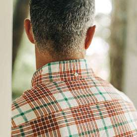 our fit model wearing The Jack in Vintage Red Madras—cropped shot of back detailing