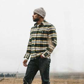 our fit model wearing The Crater Shirt in Green Plaid