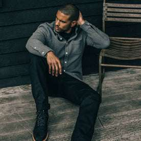 our fit model wearing The Jack in Charcoal Double Cloth