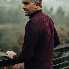 our fit model wearing The Jack in Maroon Brushed Oxford