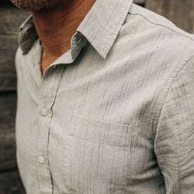 fit model wearing The California in Midnight Slub Micro Stripe, cropped chest shot