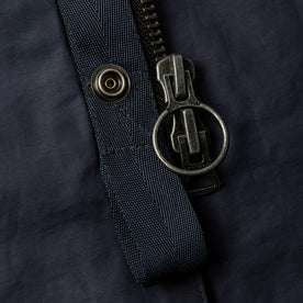 material shot of zipper and button