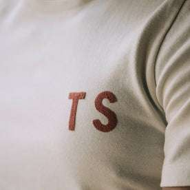 The Embroidered Heavy Bag Tee in Natural TS, chest detail