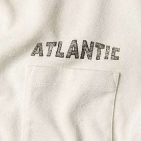 """material shot of chest pocket with """"atlantic"""" text"""