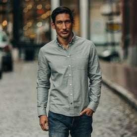 fit model wearing The Jack in Bay Mist Oxford, walking in street