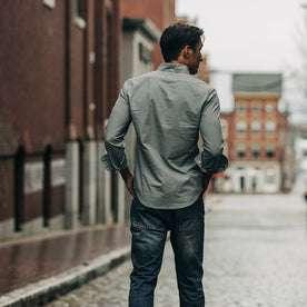 fit model wearing The Jack in Bay Mist Oxford, back shot in street