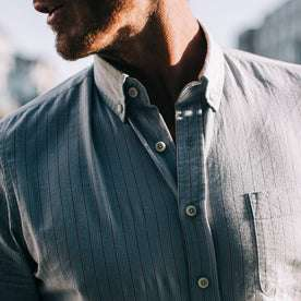 fit model wearing The Jack in Parkway Stripe, chest detail