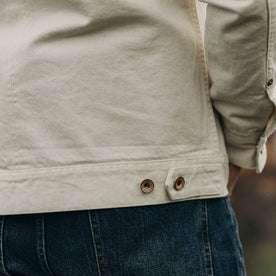 fit model wearing The Long Haul Jacket in Natural Organic Selvage, back detail