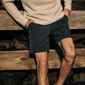 fit model wearing The Morse Short in Navy Slub Linen, hands in pockets