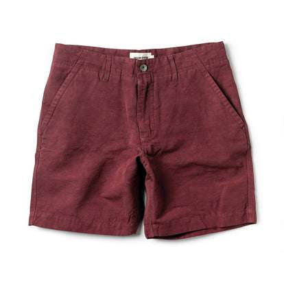 The Morse Short in Brick Red Slub Linen