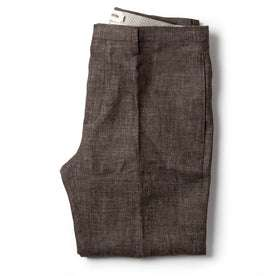 folded flatlay of The Sheffield Trouser in Cocoa Linen