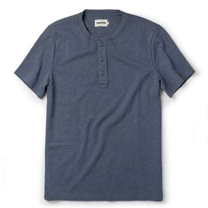 The Short Sleeve Heavy Bag Henley in Atlantic Blue