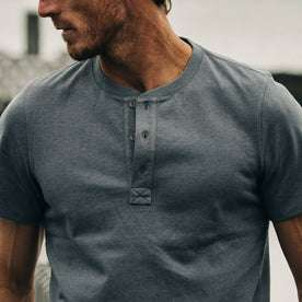 fit model wearing The Short Sleeve Heavy Bag Henley in Atlantic Blue, chest detail