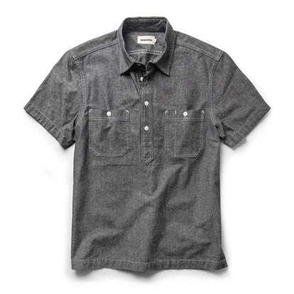 The Short Sleeve Popover in Charcoal Chambray