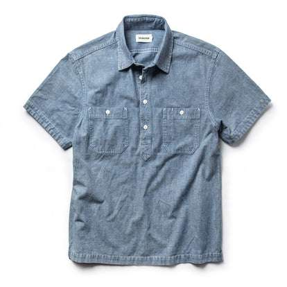 The Short Sleeve Popover in Blue Chambray