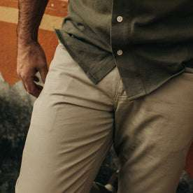 fit model wearing The Democratic All Day Pant in Aluminum Bedford Cord, cropped up close
