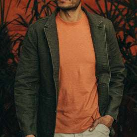 fit model wearing The Emerson Jacket in Olive Double Cloth, hand in pocket