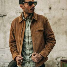 fit model wearing The Jack in Moss Plaid, Wyatt jacket layered over