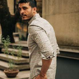 fit model wearing The Jack in Pebble Plaid, side shot