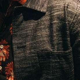 fit model wearing The Ojai Jacket in Black Cross Dye, chest detail