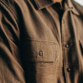 our fit model wearing The Corso in Walnut Double Cloth—cropped shot of chest