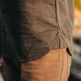 our fit model wearing The Corso in Walnut Double Cloth—cropped shot of bottom seem detail